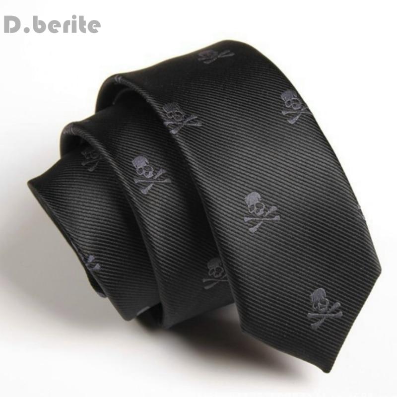 Mens Black Neck Tie Classical Skull Slim Skinny Ties Narrow Silk Groom Necktie Business Neckties For Wedding Party SK251