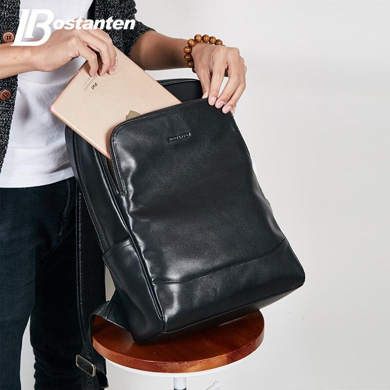 BOSTANTEN Cuoio Zaino Maschio Grande Viaggio Zaini Schoolbag Business 13 14 15 pollice Laptop Backpack Anti Furto Borsa Del Computer - 2