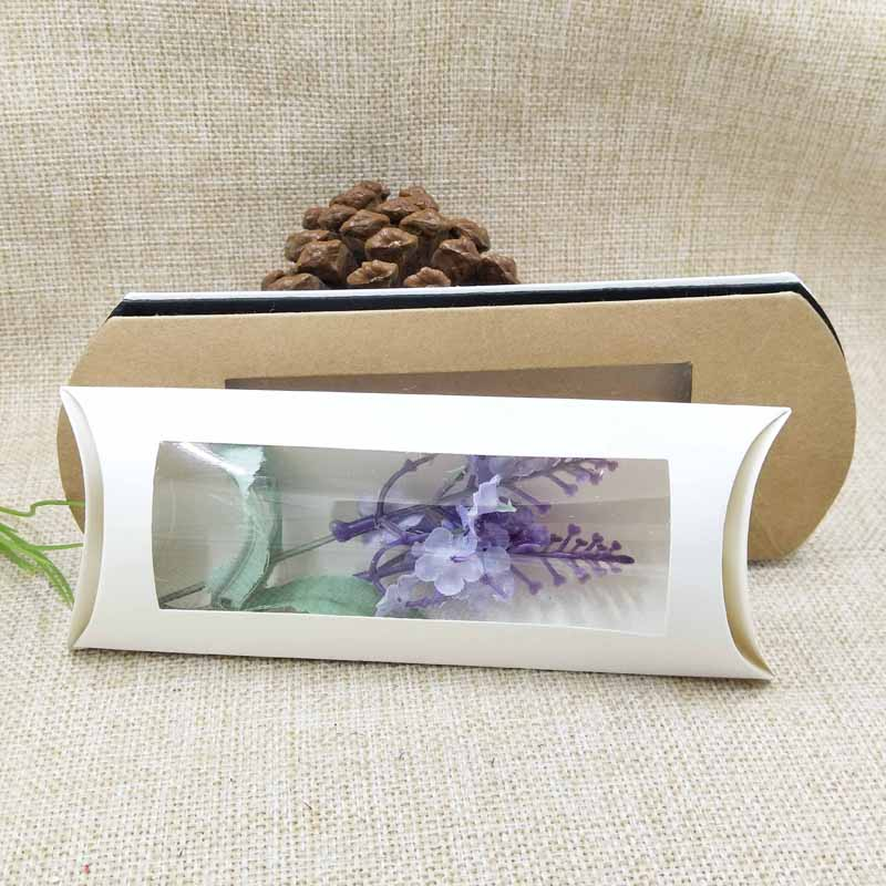 10pc 16*7*2.4cm brown/white/black cardboard pillow window box with clear pvc for proucts/gifts/favors/display packing show 20
