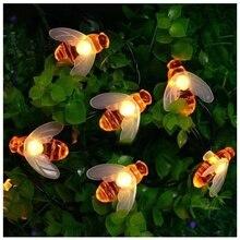 Интересные вечерние украшения шланг для полива огорода, двора, светодиодная гирлянда украшения сада 20 светодиодный свет Мёд в форме пчелы теплый белый