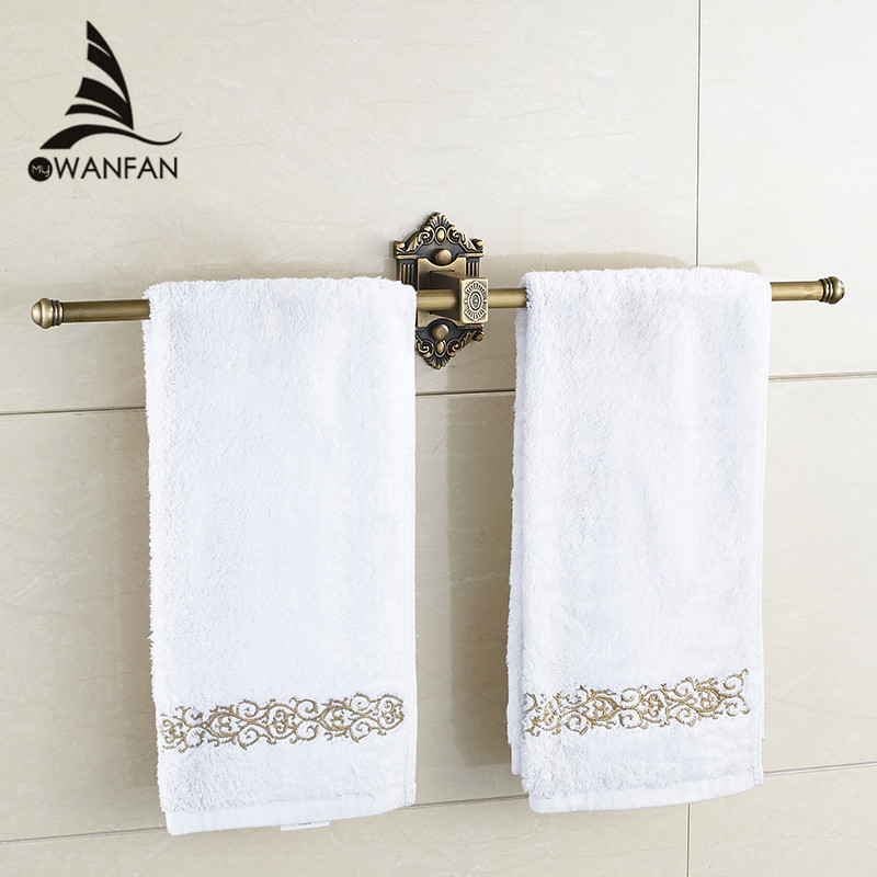 Towel Bars Single Rail Antique Brass Wall Shelf Towel Holder Towel Hangers Bath Shelves Bathroom Accessories Towel Rack WF-71221 antique fixed bath towel holder wall mounted towel rack 60 cm brass towel shelf bathroom accessories luxury brass towel rail