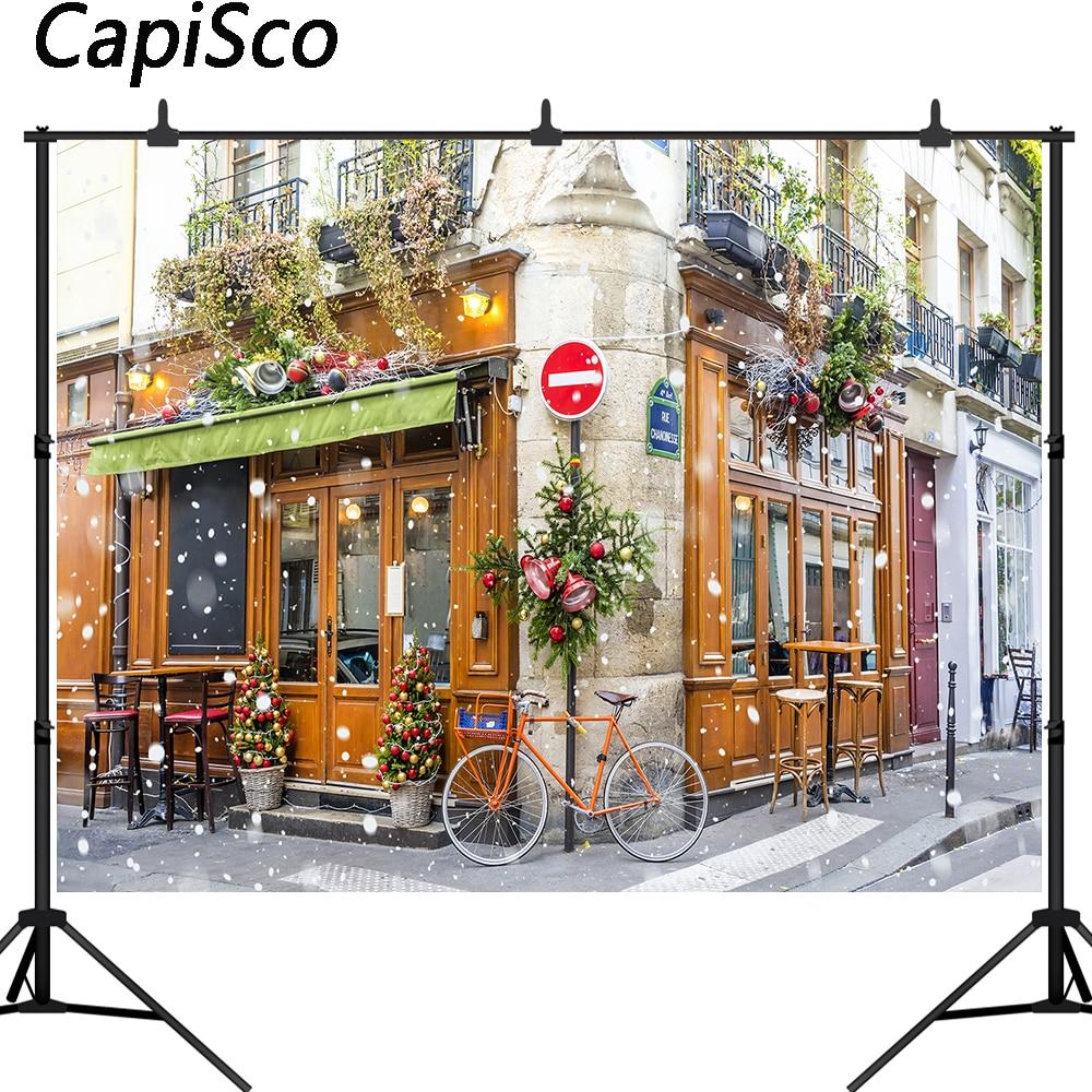 Capisco Background For Photo Studio Christmas Street Corner Winter Snow Cafe Decoration Photography Backdrop Photobooth Prop