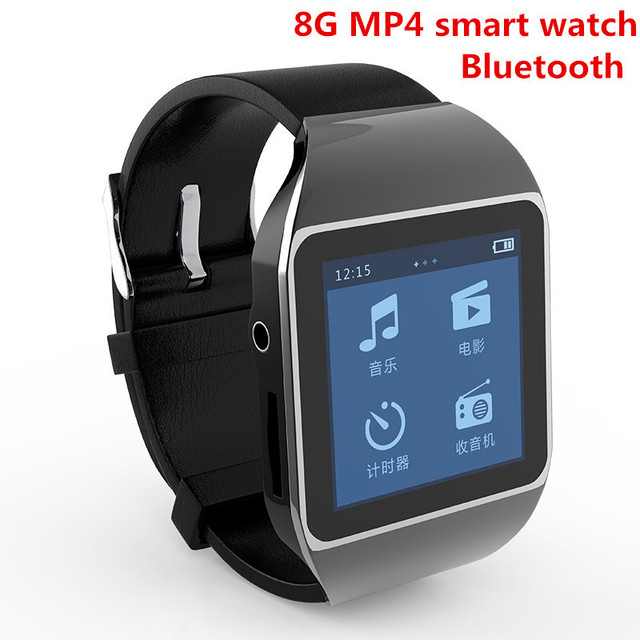 "New 8GB smart watch Bluetooth MP4 Music player with 1.5"" Touch Screen Support Bluetooth FM Pedo Meter World Clock Function"