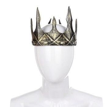 Tocado antiguo Larp vikingo Corona Hombre Medieval rey real Tiaras Corona accesorios para el cabello PU Cosplay Halloween Carnaval