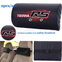 Proteção para a Cabeça de Carbono preto PU 2 PÇS/SET Encosto de Cabeça Do Carro Carro Pescoço Travesseiro Carro encosto de cabeça de segurança Para Tierra RS logotipo vermelho fogo