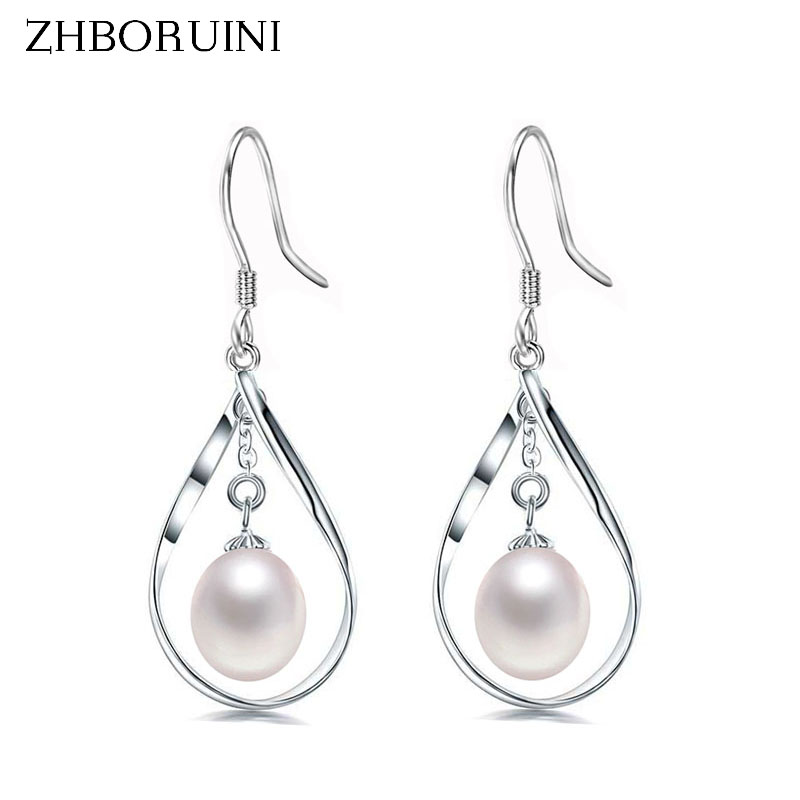все цены на ZHBORUINI 2017 Pearl Earrings natural Freshwater Pearl Geometric Big Earring 925 sterling Silver Jewelry For Women Gift Box