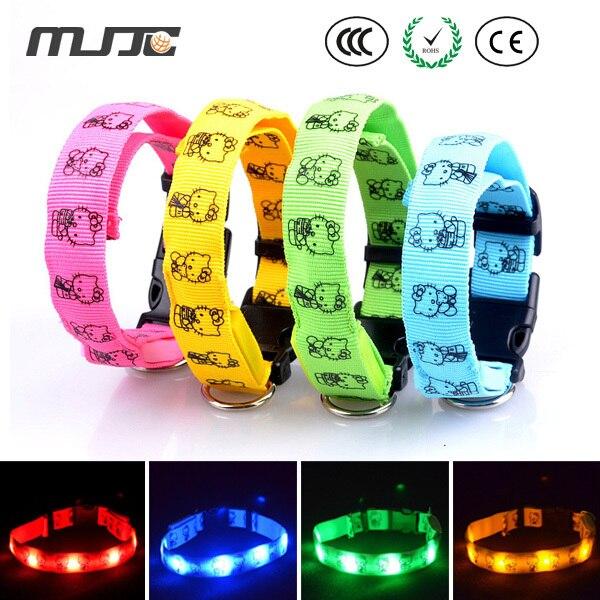 MJJC brillante collar de perro longitud 28-40 cm flexibles LED con la luz del fl