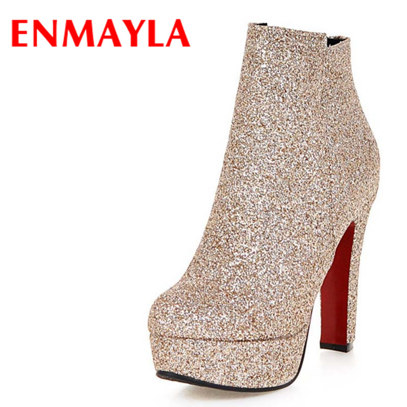 ENMAYLA Sexy Red High Heels Ankle Boots for Women Zippers Winter Boots Shoes Woman Large Size 34-45 Round Toe Platform Boots enmayla ankle boots for women low heels autumn and winter boots shoes woman large size 34 43 round toe motorcycle boots
