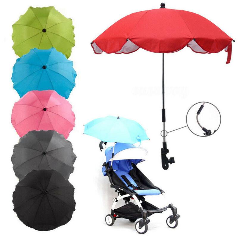 Black Stroller Umbrella Bicycle Wheelchair Pushchair Baby Umbrella holder Bracket Pram Swivel Connector Adjustable Length Angle Umbrella Stand Parasol UV Rays Rain Sun Canopy