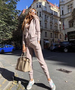 Image 4 - New 2020 Autumn Winter Women Knitted Tracksuit Fur Collar Zipper Hooded Coats+Elastic Casual Pants 2 Pieces Set Women Knit Suit