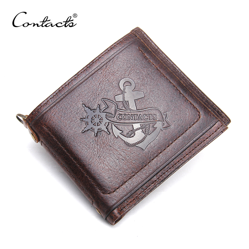 CONTACT'S 2017 New Genuine Leather Small Men Wallet Brand Logo Design Fashion Wallets Luxury Dollar Price Short Style Male Purse