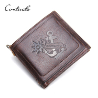 CONTACT'S 2018 New Genuine Leather Small Men Wallet Brand Logo Design Fashion Wallets Luxury Dollar Price Short Style Male Purse