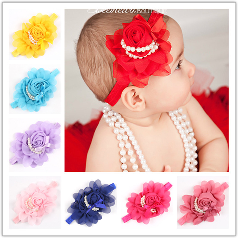12Clrs New Fashion Hot children Infant Baby Toddler girls Rose Pearl flower Headband Headwear Hair Band Head Piece Accessories traditional squeeze bulb horn trumpet for bike