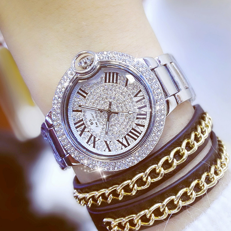 All Links Roman Numerals Graduated Rhinestone Dial Gift Ladies Watch  Fashion & Casual Chronograph Bracelet Clasp
