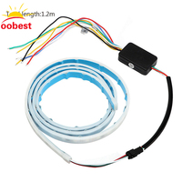 Oobest 120cm Blue Red Yellow White RGB LED Strip Trunk Tail Light Brake Lamp Turn Signal