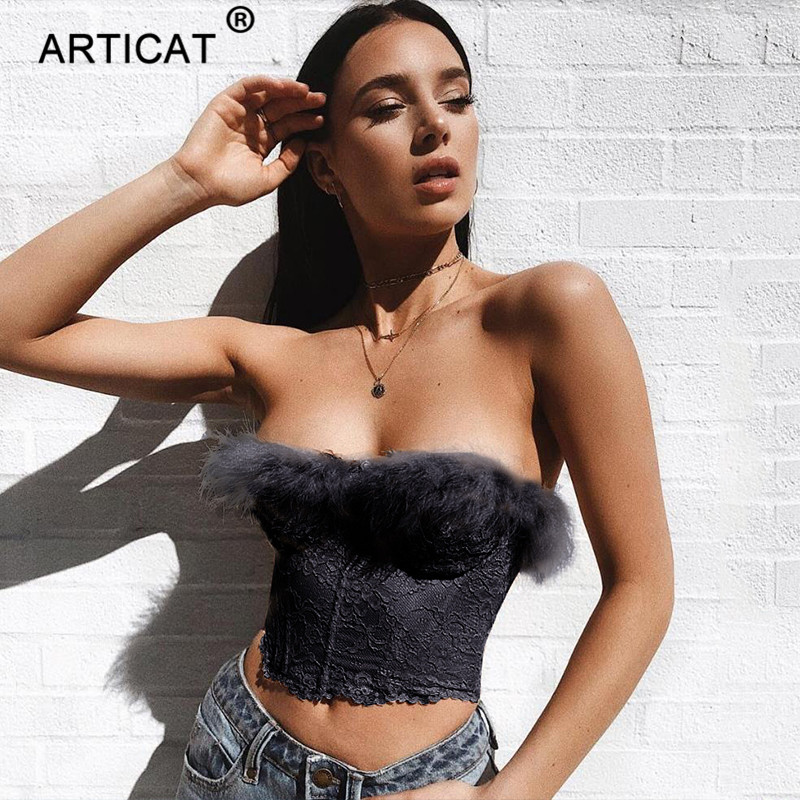 Articat Off Shoulder Lace Bustier Sexy Crop Top Women Strapless Backless Short Tank Top With Fur Black Solid Fashion Cute Camis