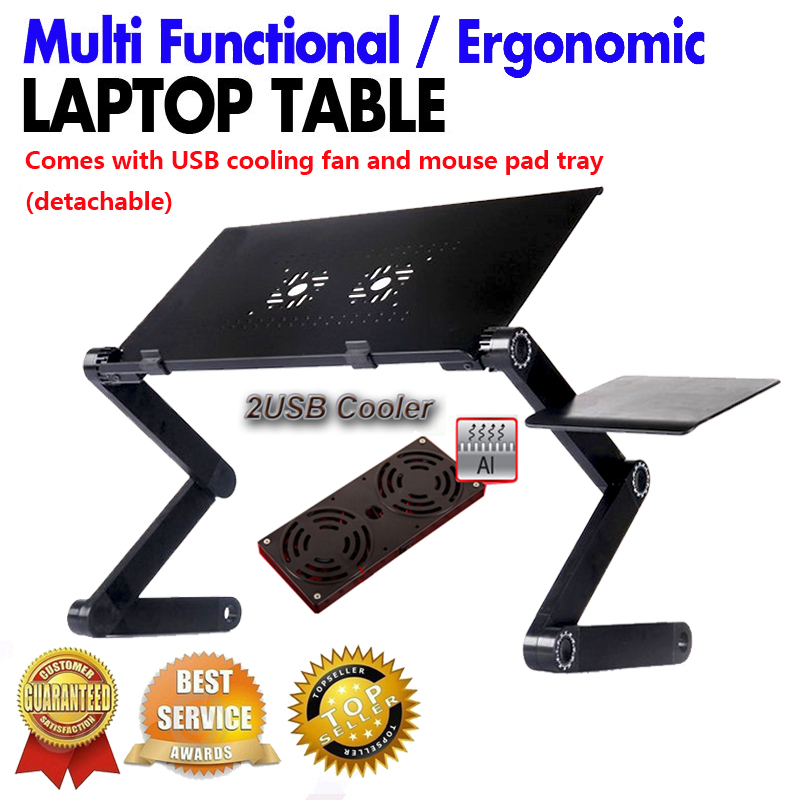 Multi Functional Ergonomic Foldable Laptop Stand Come With Usb Cooler And Mouse Pad  Portable Laptop Mesa Notebook Table For Bed