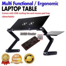 Multifunktionale Ergonomische faltbare laptopständer kommen mit usb kühler und mauspad Tragbaren laptop mesa notebook tisch für bett