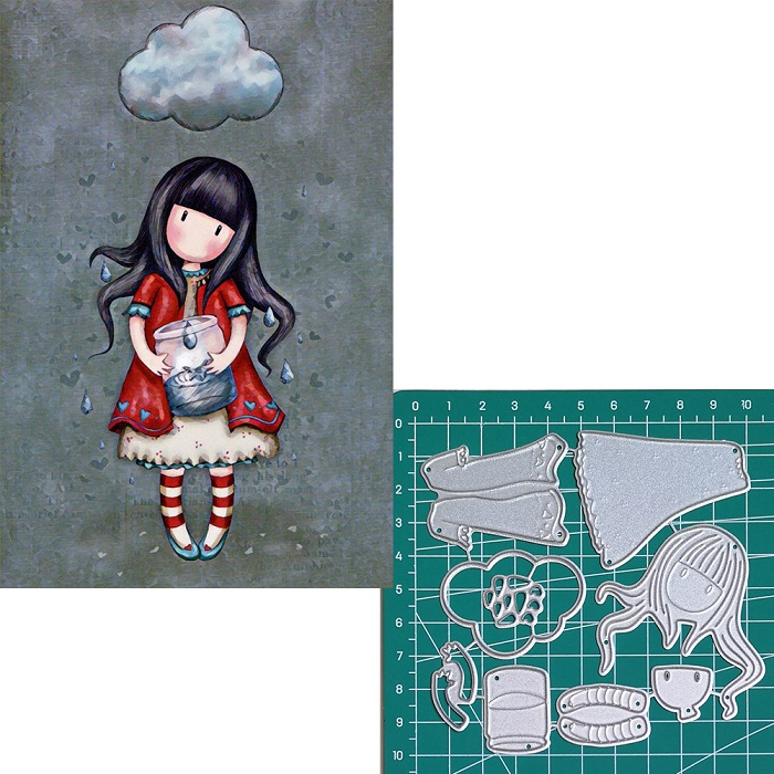 Catch the raindrops new 2019metal cutting dies doll girls for scrapbooking and making paper cards