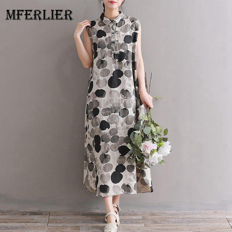 4f266f7d9245 Mferlier Mori Girl Summer Artsy Retro Dress Turn Down Collar Plate Buckle  Sleeveless WDot Print Cotton Linen Dress