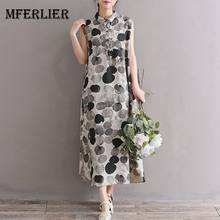 c11035956af Mferlier Mori Girl Summer Artsy Retro Dress Turn Down Collar Plate Buckle  Sleeveless WDot Print Cotton Linen Dress
