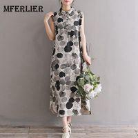Mferlier Mori Girl Summer Artsy Retro Dress Turn Down Collar Plate Buckle Sleeveless WDot Print Cotton Linen Dress