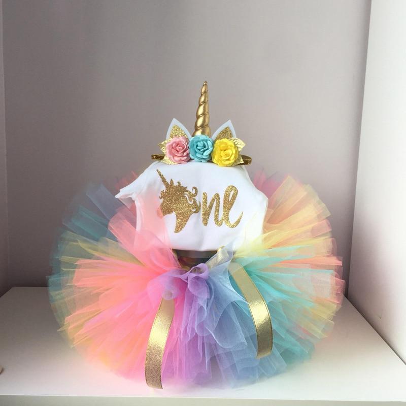 E 'Il Mio Bambino Vestiti Della Ragazza Arcobaleno Fata Tutu Soffici Estate Unicorn Partito Magliette e camicette con Fascia Del Bambino Unicorn Vestito per halloween