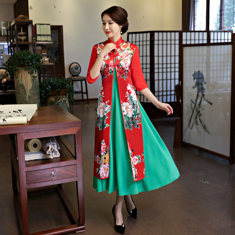 Long Qipao Cheongsams Dress Two Pieces Chinese Traditional Dress Plus Size Summer Flowers Vintage Dress Oriental