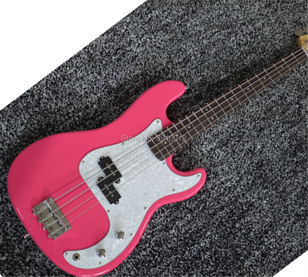 top quality custom pink Electric Bass Guitar P bass offering customized services