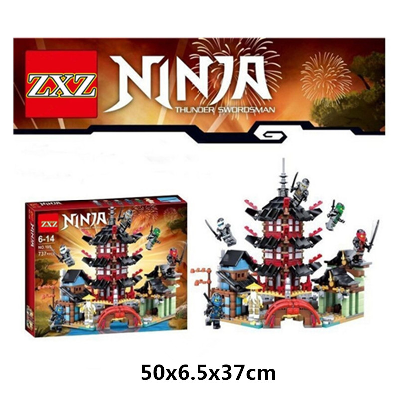 737pcs Diy Ninja Temple of Airjitzu Ninjagoes Smaller Version Building Blocks Set compatible with legoINGLY Toys for Kids Bricks 4pc set ninjagoes dragon knight building blocks kids hot toys ninja bricks mini action figures enlighten toy for children friend