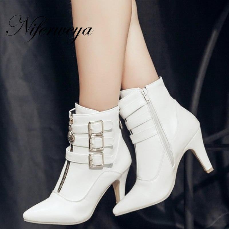 Moda invierno mujeres botas sexy cortas sexy botas punta dedo del pie zapatos 056475