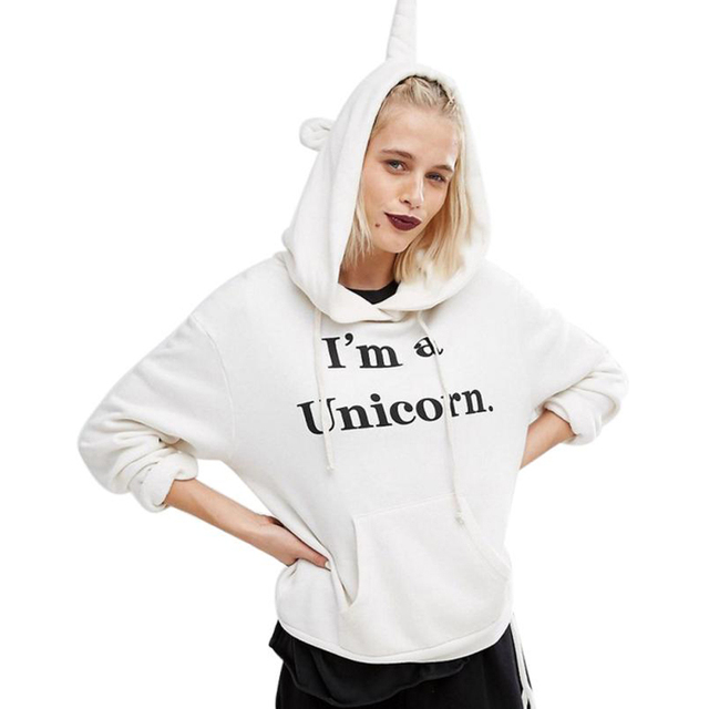 "2016 Street Style Women Autumn T-shirt Hooded ""I'm a Unicorn"" New Fashion White harajuku shirt women Tee Tops Female Girls"