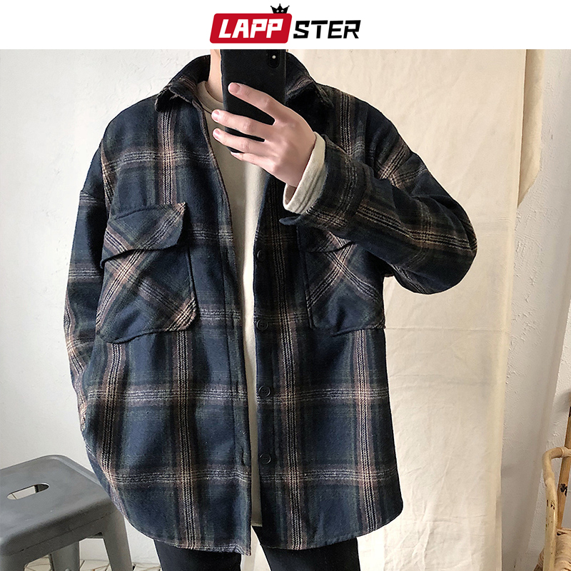 LAPPSTER Men Harajuku Flannel Plaid Shirts Casual 2020 Mens Button Up Shirt Long Sleeve Autumn Streetwear Cotton Shirt Fashion