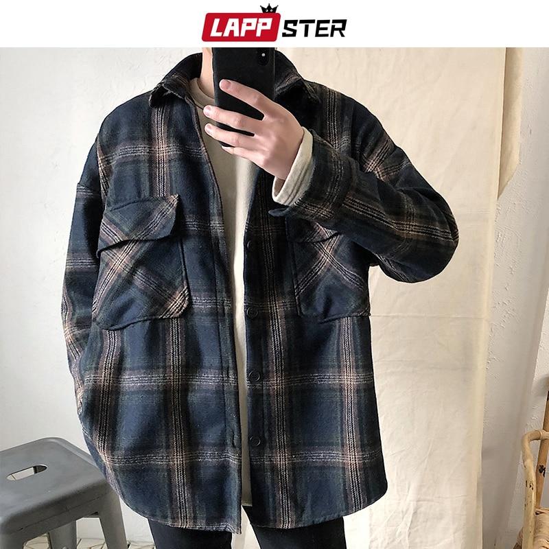 LAPPSTER Men Harajuku Flannel Plaid Shirts Casual 2020 Mens Button Up Shirt Long Sleeve Autumn Streetwear Cotton Shirt Fashion
