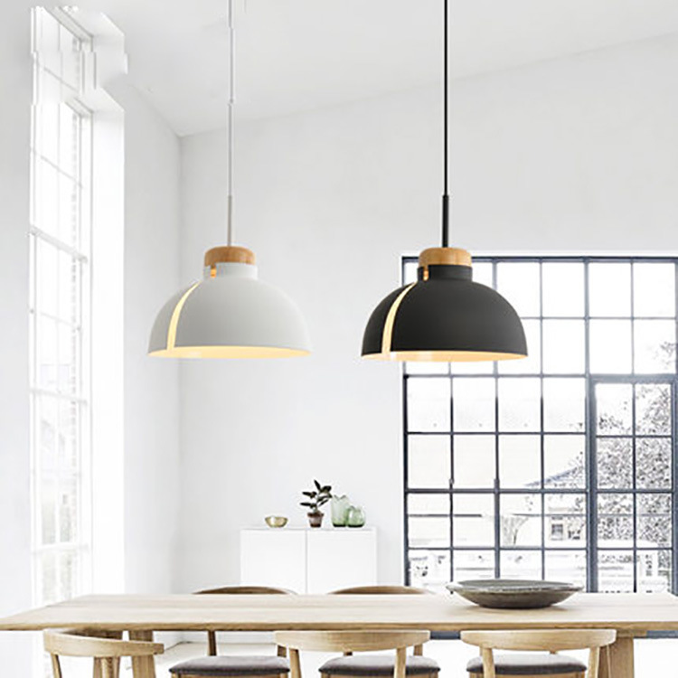 Nordic style Simple pendent lamp Wood Passing lamp Corridor porch Balcony Creative Background wall Led Japanese Black White|Chandeliers| |  - title=