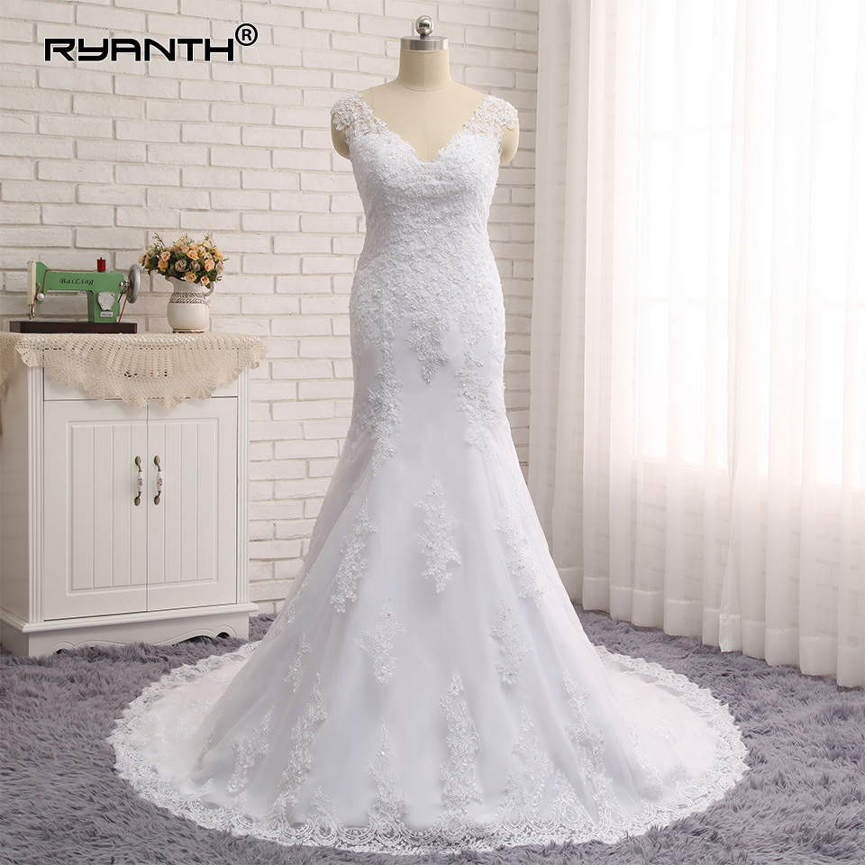Sexy V Neck Vestido de Noiva 2019 Abiti da sposa Plus Size Lace Mermaid Wedding Dresses