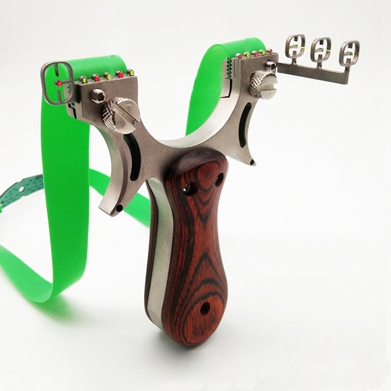 Hunting Slingshot Catapult High Quality Stainless Steel with Rubber Band Outdoor Shooting Game Sling Shot Wooden Handle