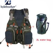 Fly Fishing Vest Pack+2L Water Bag Adjustable Size Jackets Multifunction Pockets Mesh Backpack