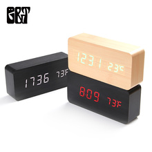 Wooden LED Alarm Clocks Morden Temperature Electronic Clock Sounds Control Digital Table Clock with Calendar for Bedroom Office