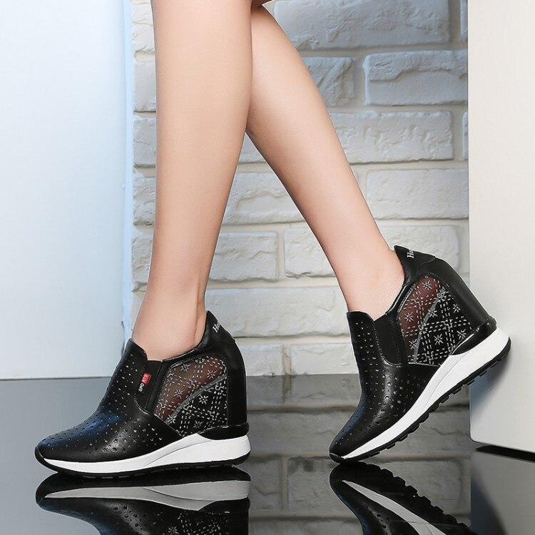 Calzado Plataforma Zapatos Deslizamiento Marca Moda Creepers De blanco plata Creciente Mujer Zorssar Negro Cuñas Tacones Transpirables Casual En Verano Altura w7Zp1Cqx