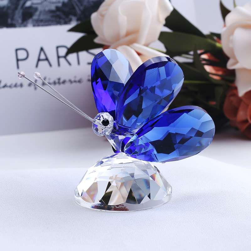 Handmade Crystal  Butterfly Miniature Figurine Animal Crystal Craft Glass Garden Fairy Ornament Home Decor Gift Paperweight|Figurines & Miniatures| |  - title=