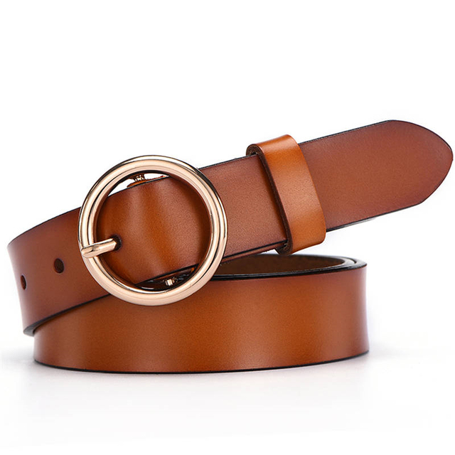 NO.ONEPAUL female deduction side gold buckle jeans wild belts for women fashion New Circle Pin Buckles Belt