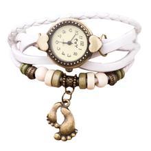 Relogio Feminino 2016 New Ladies Watch Leather Quartz Weave Around Leather Footed Bracelet Lady Woman Wrist