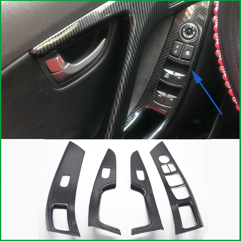 For Hyundai Elantra Avante Sedan LHD 2012-2015 Interior Door Handle Window Lift Panel Switch Button Cover Sticker Trim Mouldings