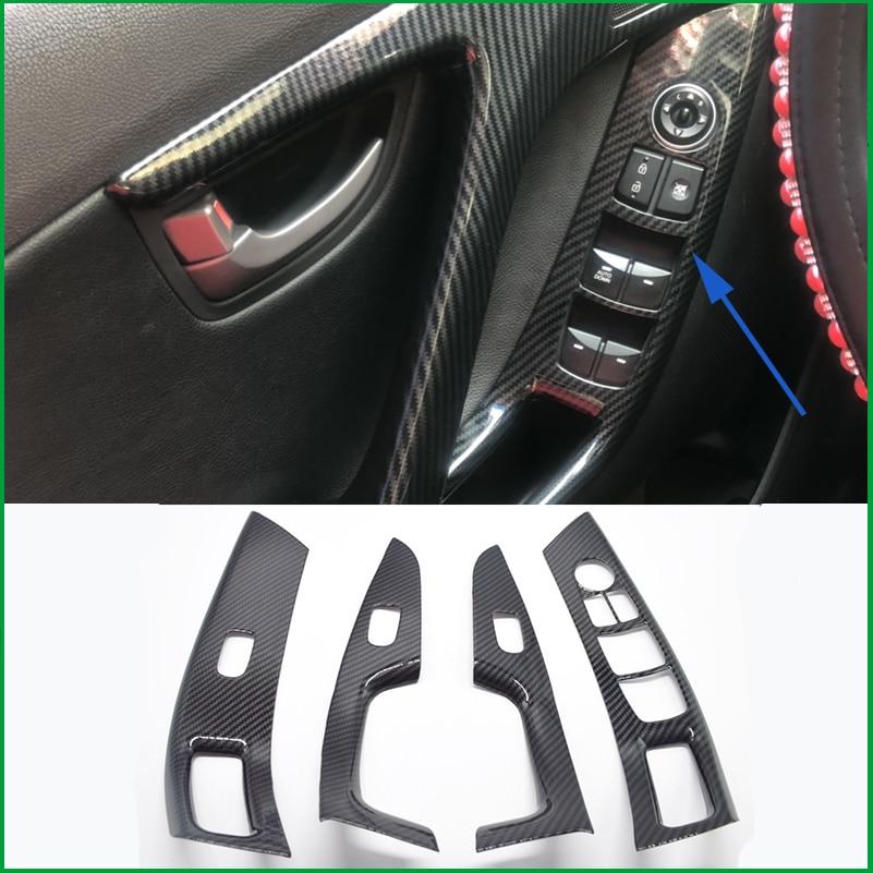 For Hyundai Elantra Avante Sedan LHD 2012-2015 Interior Door Handle Window Lift Panel Switch Button Cover Sticker Trim Mouldings