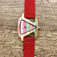 New Fashion Wooden Womens Watches Creative Triangle Watch Case Simple Wristwatch Casual Genuine Leather Quartz Waterproof Watch