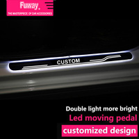 2pcs Car Led moving door scuff car pedal door sill plate steps light welcome pedal for Ford focus Mondeo Mustang Fiesta EVEREST