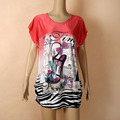 fashion plus size women's short-sleeve loose print tee women large size t shirt blusas de renda feminino