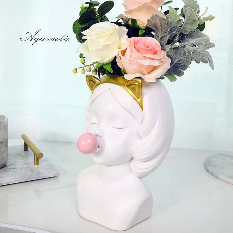 GIEMZA Girl Blowing Bubbles 1pc Head Vase Resin Hydroponics No Plants Flower Vase Decor Urban Jar Table Pedestal Tool Nordic