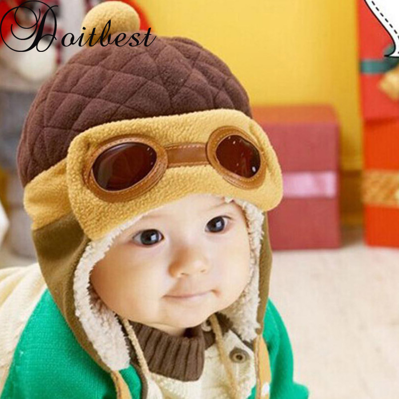 Doitbest 2 To 5 Years Old Baby Boy Bomber Hat Fur Inside Winter Beanies Child Bear Pilot Hats Wool Kids Girls Earflap Caps